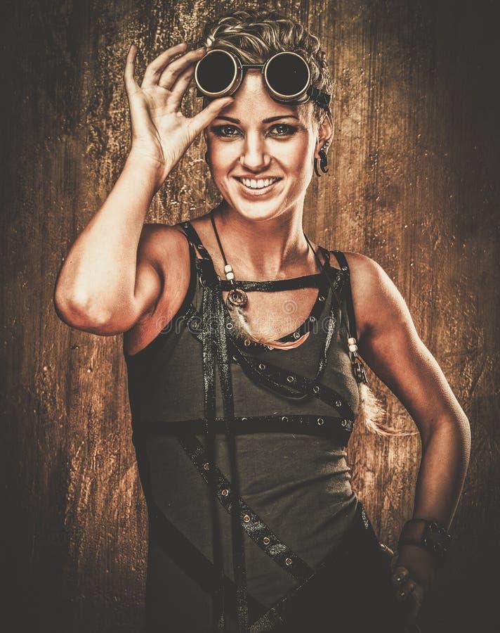 时兴的steampunk女孩 库存照片