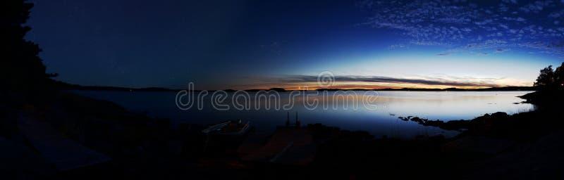 时间舔全景:有日落的湖在右边和夜担任主角在左边的天空 库存图片