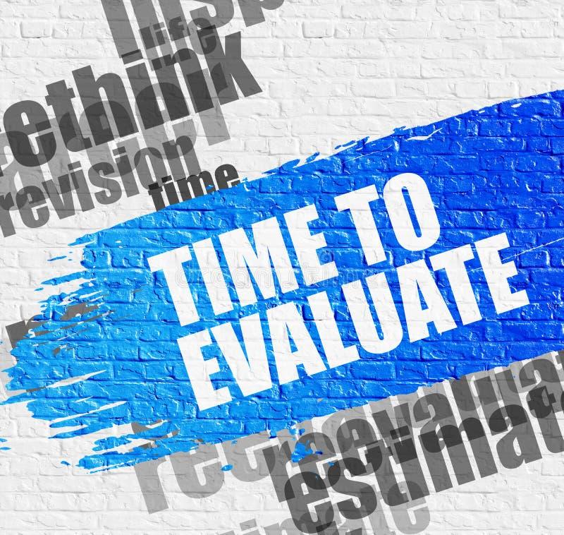 时刻评估在白色砖墙上 库存例证