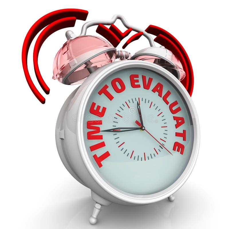 时刻评估 有题字的闹钟 向量例证