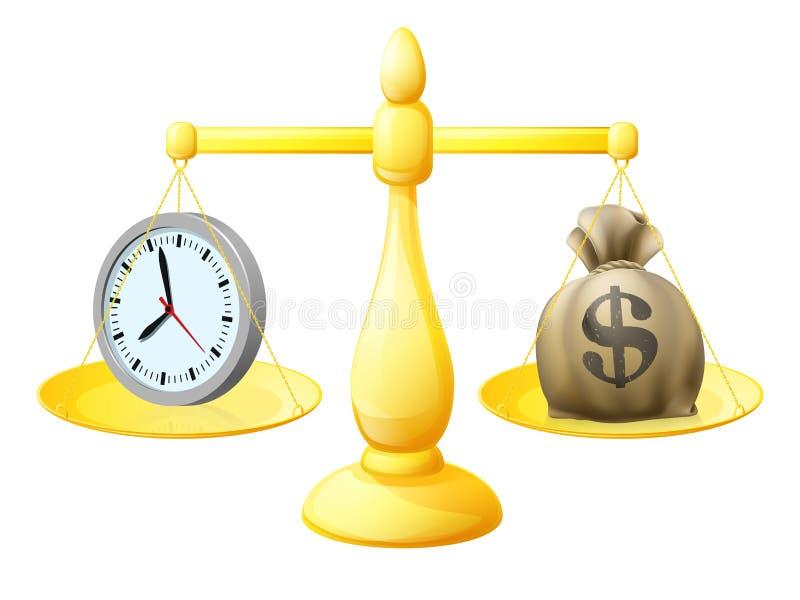 时间金钱平衡标度 向量例证