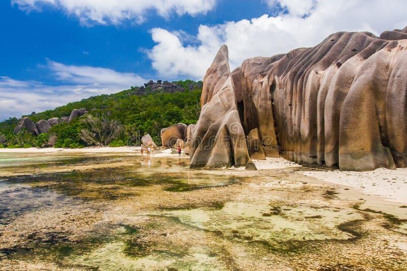 昂斯市来源银在塞舌尔海岛 免版税图库摄影