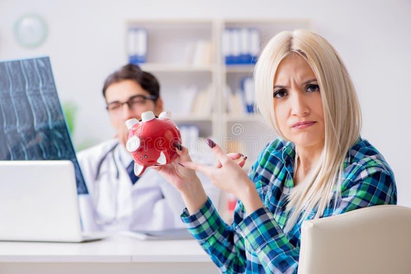 昂贵的医疗保健的概念与妇女参观的男性医生的 免版税库存照片