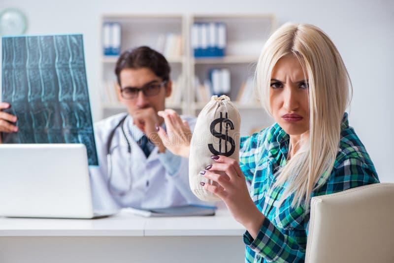 昂贵的医疗保健的概念与妇女参观的男性医生的 免版税图库摄影
