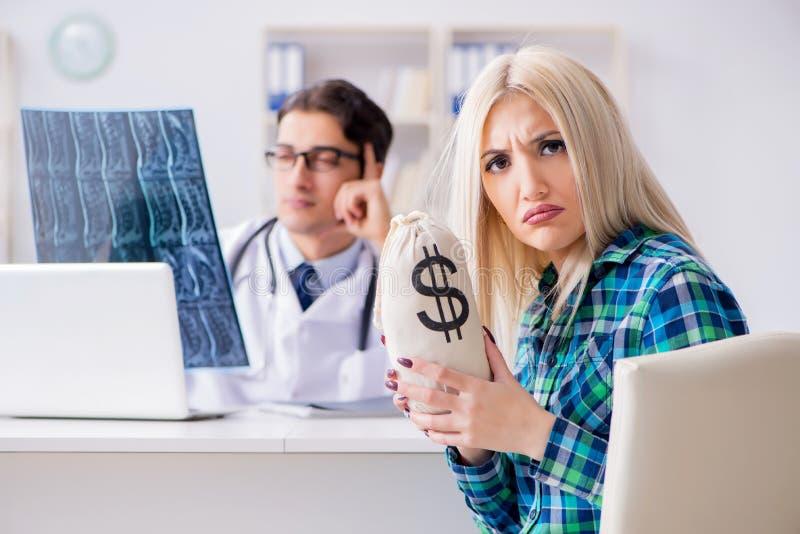 昂贵的医疗保健的概念与妇女参观的男性医生的 库存图片
