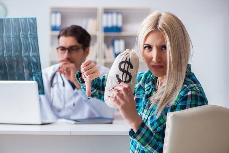昂贵的医疗保健的概念与妇女参观的男性医生的 图库摄影