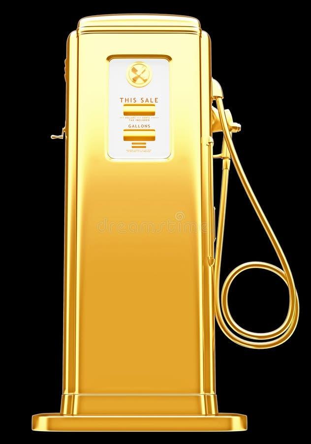 昂贵的燃料:在黑色隔绝的金黄气泵 库存例证