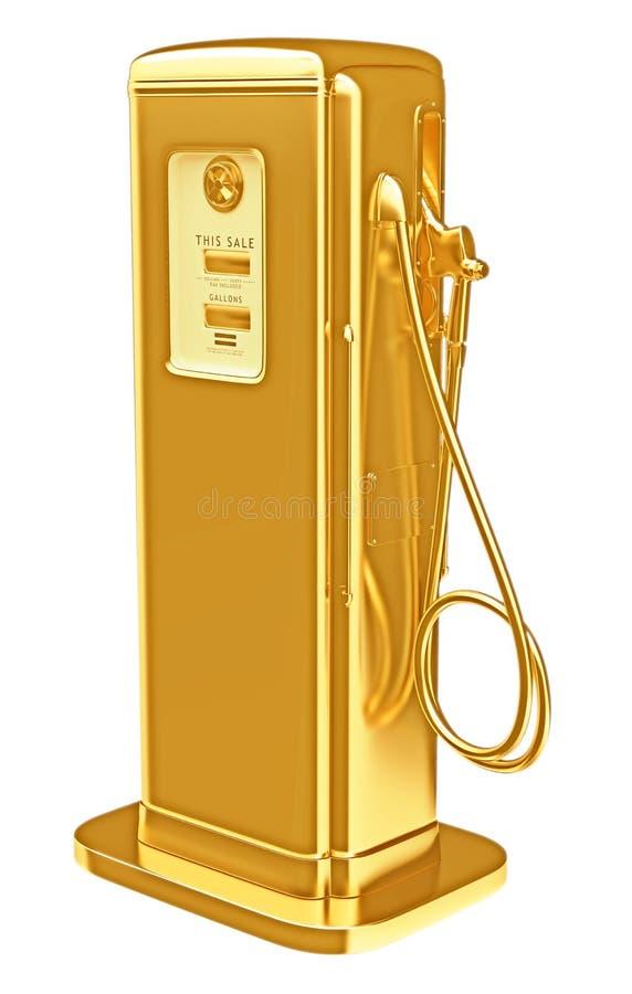 昂贵的燃料:被隔绝的金黄加油泵 库存例证
