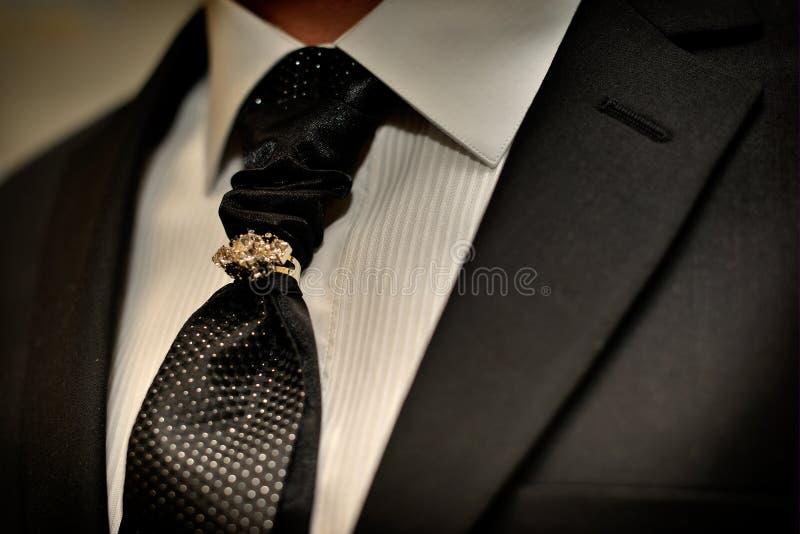 昂贵的衣服 领带和古典豪华领带夹 免版税库存图片