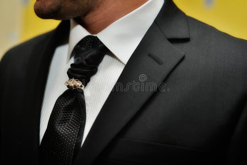 昂贵的衣服 领带和古典豪华领带夹 库存图片