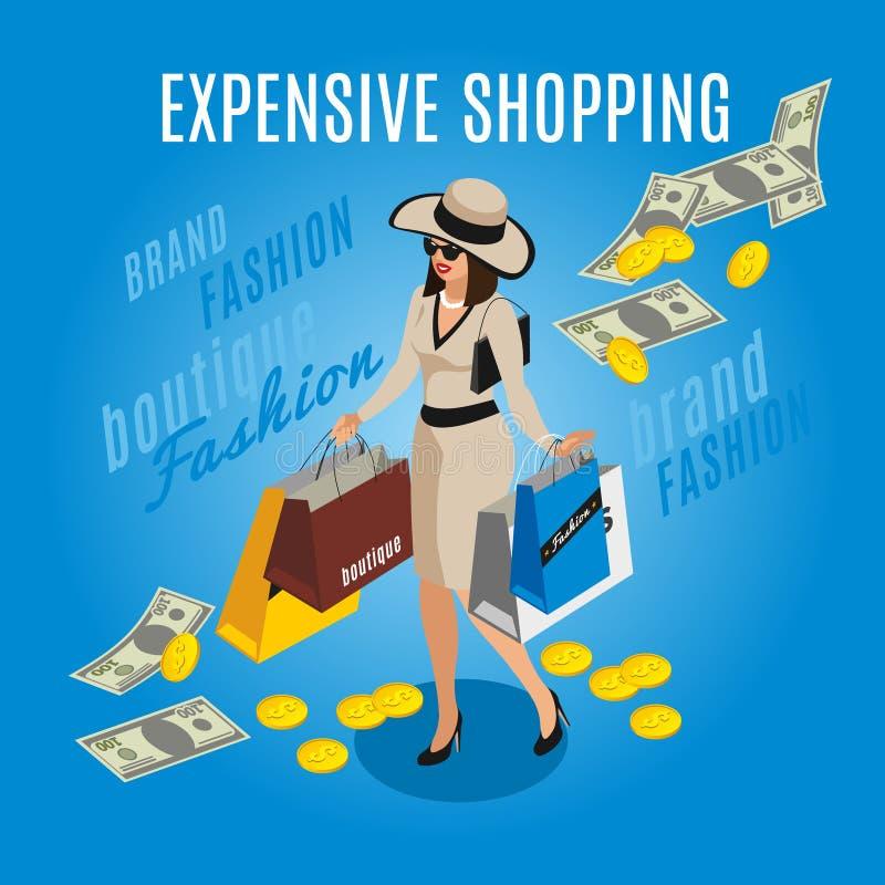 昂贵的购物富有的夫人Composition 库存例证