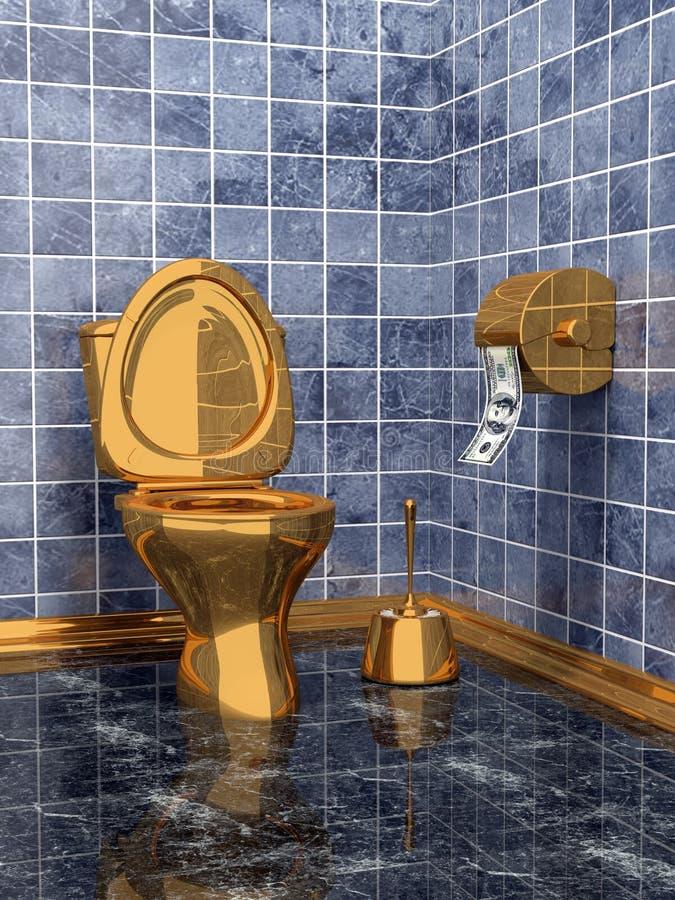昂贵的金黄洗手间 向量例证