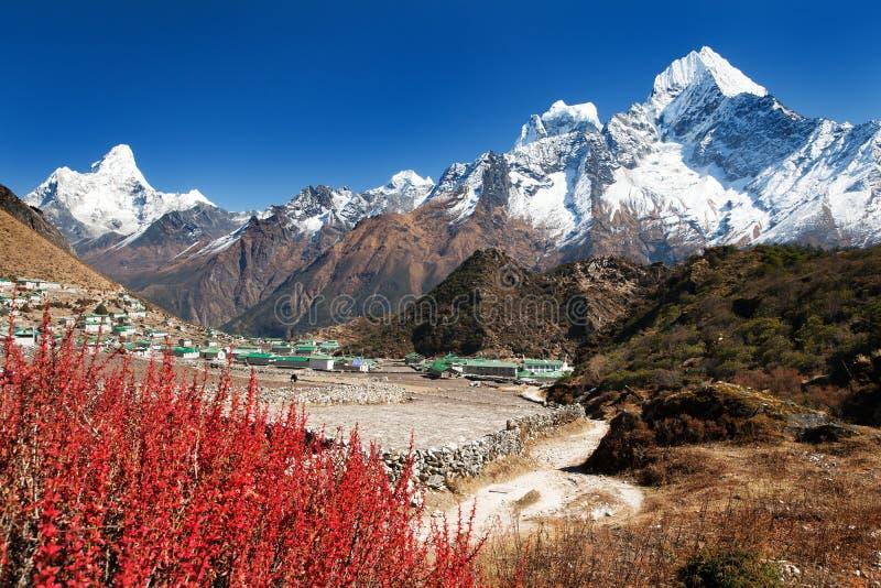 昆琼村庄和美丽的喜马拉雅山 免版税库存图片