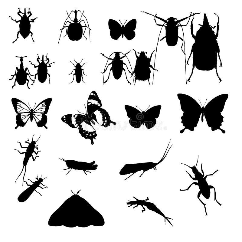 昆虫剪影向量 向量例证