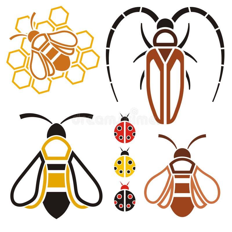 昆虫图标,对象 向量例证