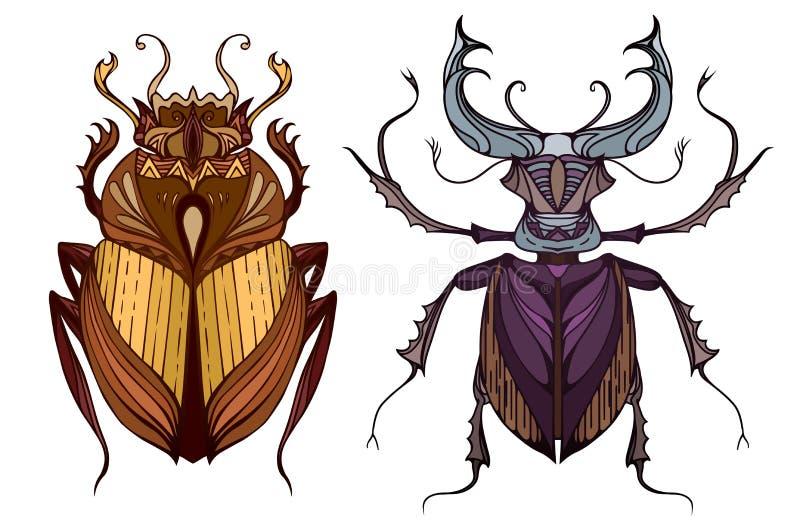昆虫在与一个部族样式的颜色设置了 向量例证