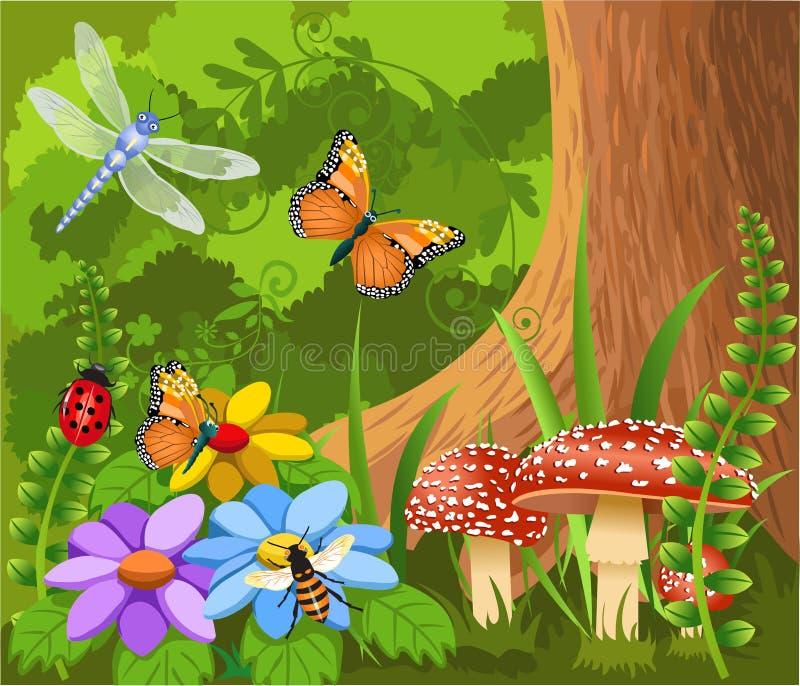 昆虫在森林里 皇族释放例证