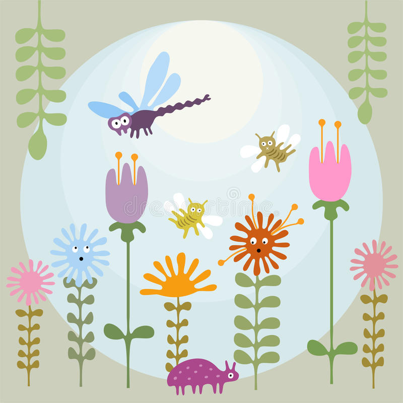 昆虫在花园里 向量例证