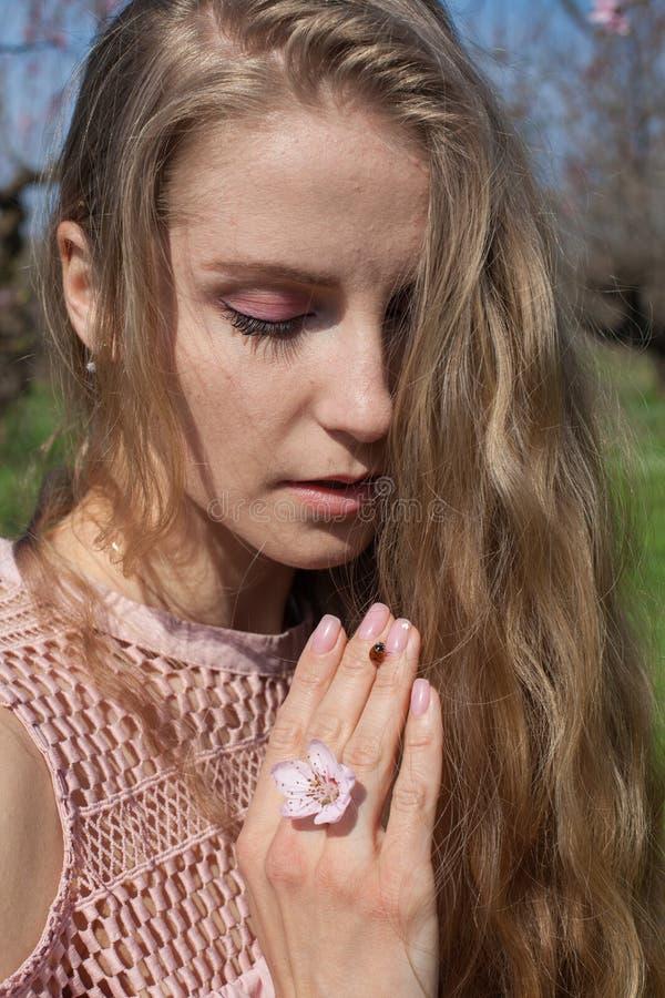 昆虫瓢虫妇女的手在春天在庭院里 图库摄影