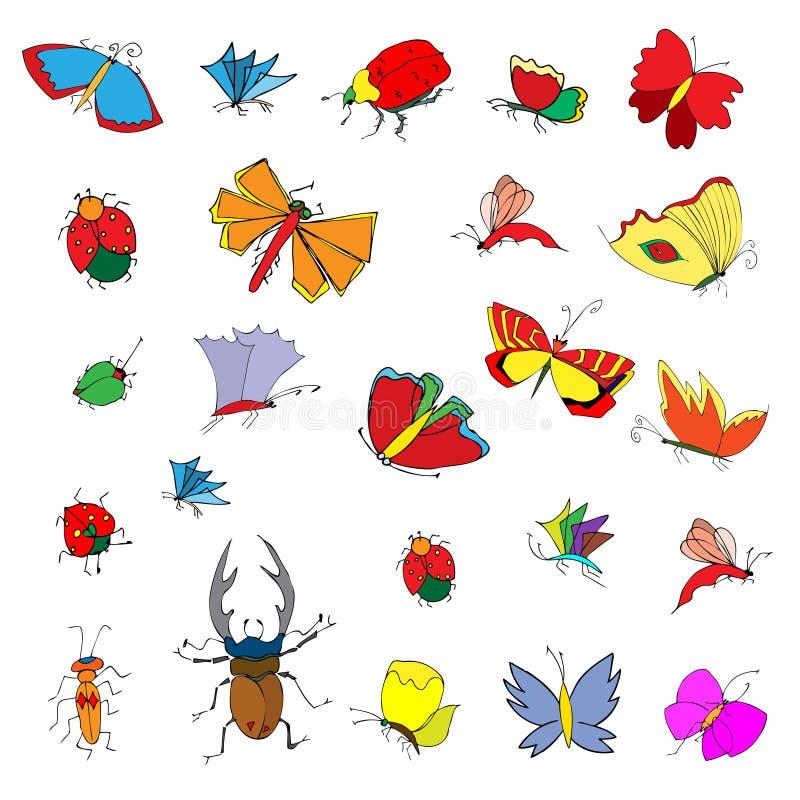 昆虫的剪影例证 库存例证