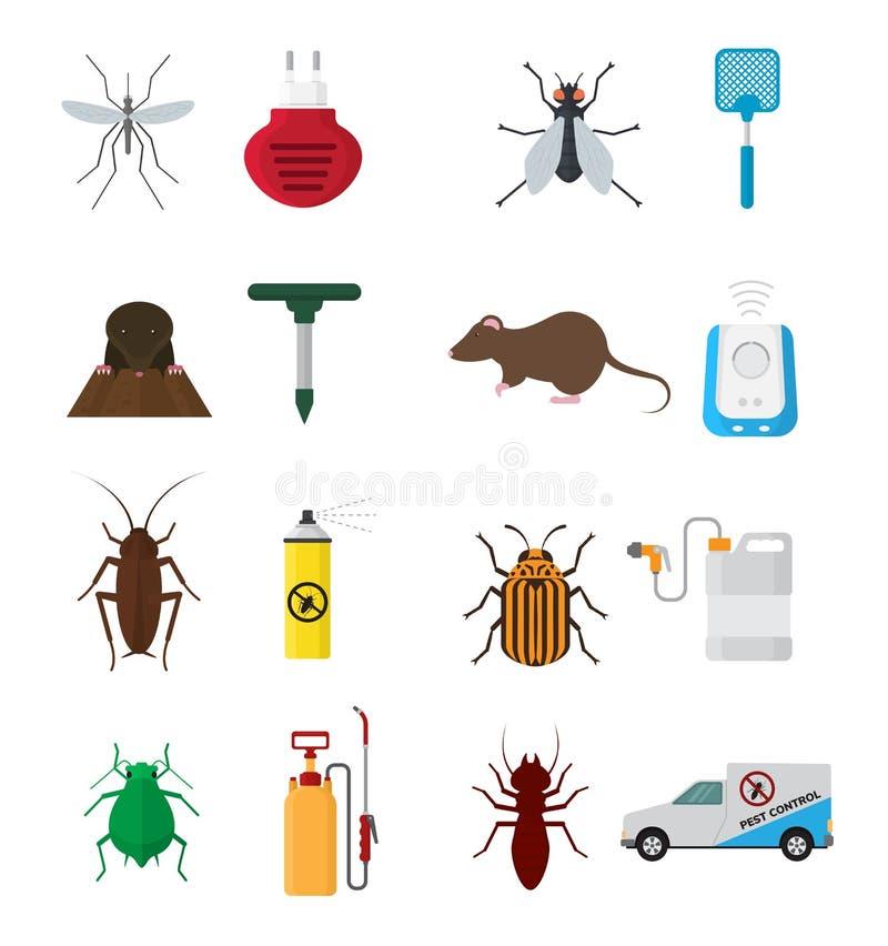 昆虫防治反虫杀虫药烟雾剂喷射和化工杀虫喷雾器保护的免受臭虫或 向量例证
