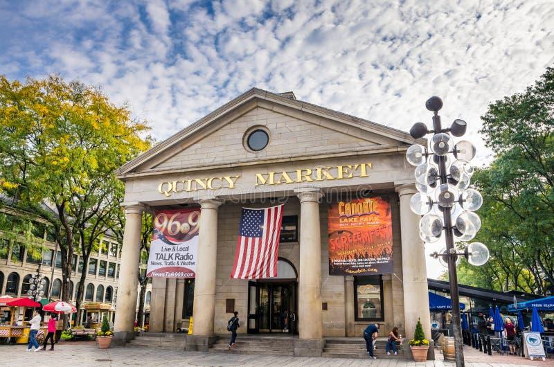 昆西市场在一个秋天多云早晨,波士顿 免版税库存照片