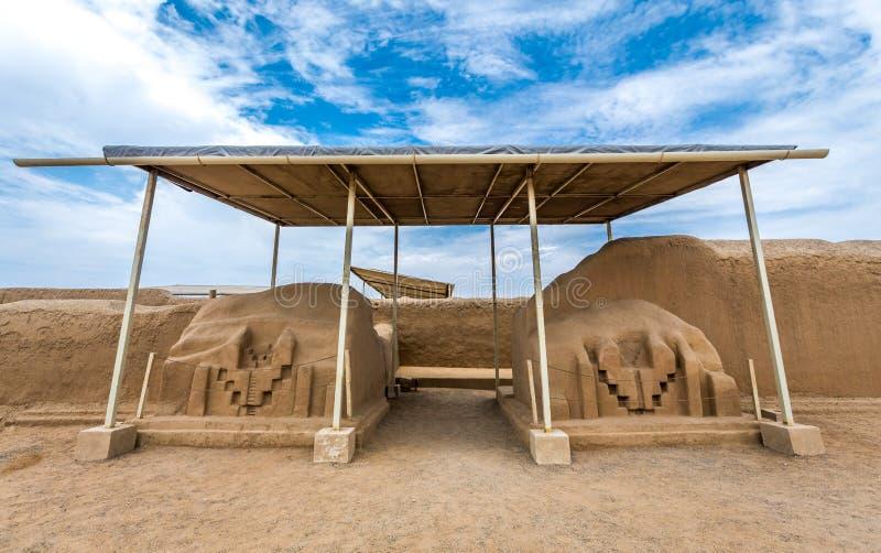 昌昌古老废墟在秘鲁 库存图片