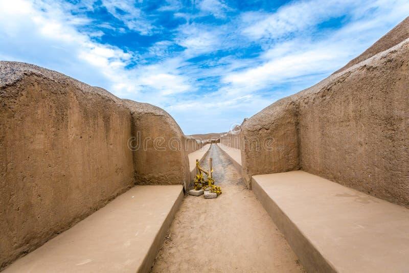 昌昌古老废墟在秘鲁 图库摄影