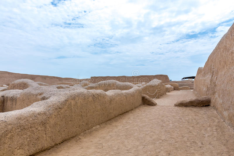 昌昌古老废墟在秘鲁 免版税库存图片