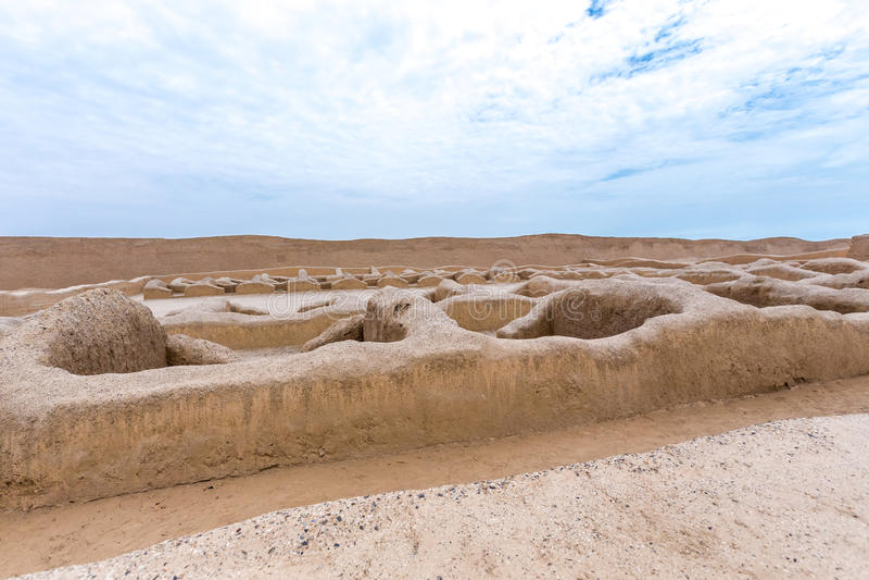 昌昌古老废墟在秘鲁 免版税图库摄影