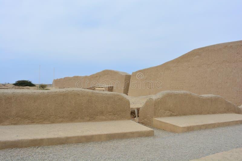 昌昌,秘鲁古城的废墟 库存照片