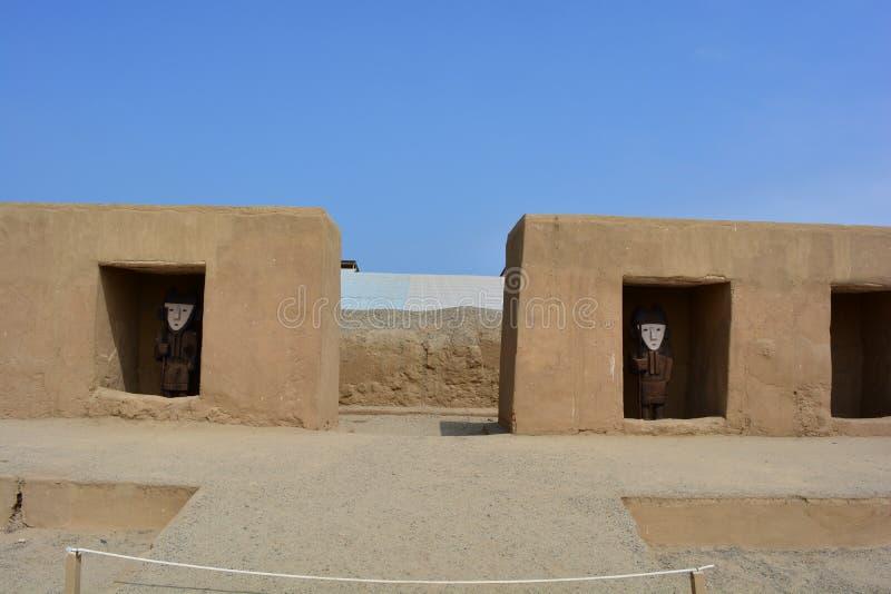 昌昌,秘鲁古城的废墟 免版税图库摄影