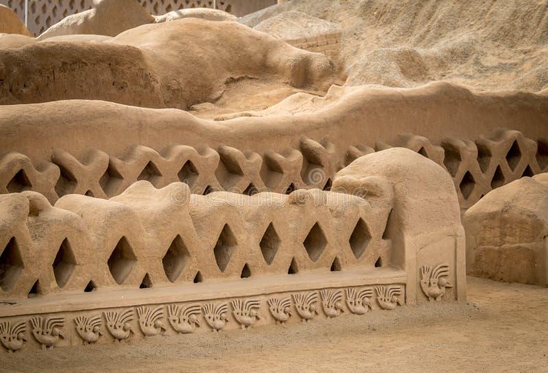 昌昌-特鲁希略角,秘鲁古老废墟  免版税库存图片