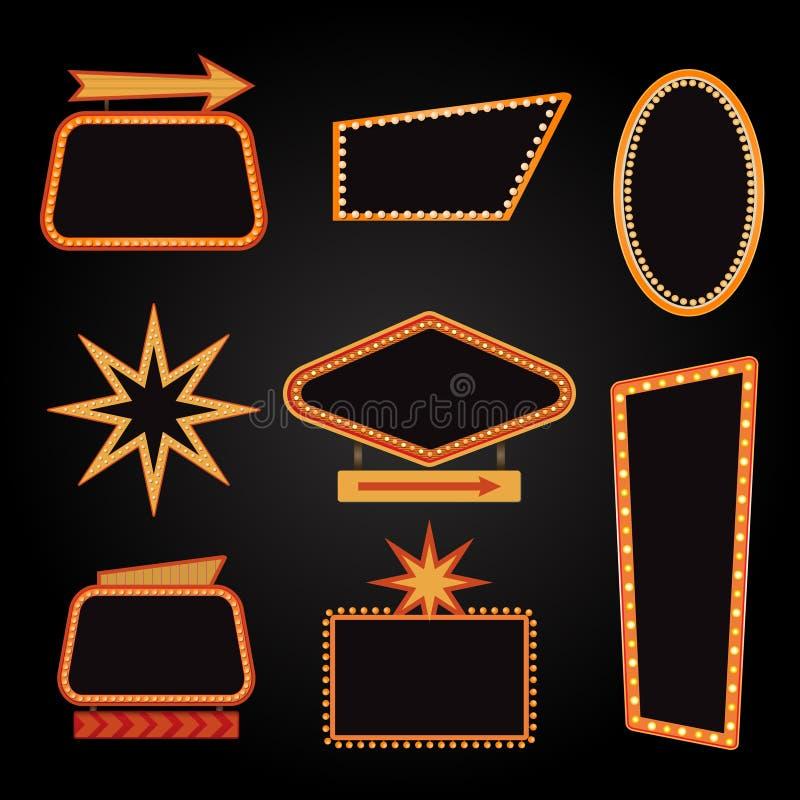 明亮传染媒介赌博娱乐场或剧院发光的减速火箭的戏院霓虹灯广告 库存例证