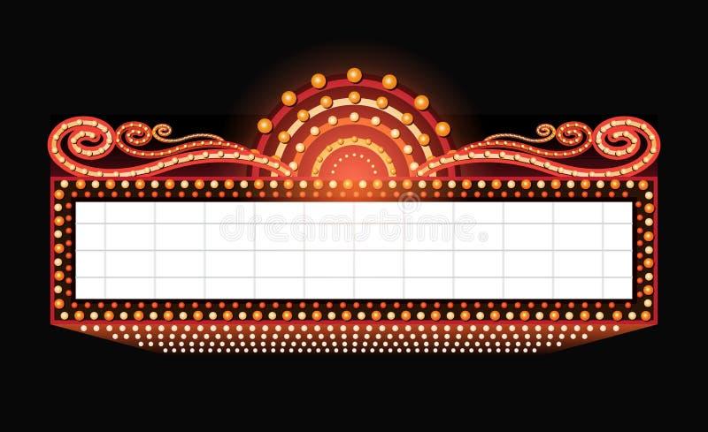 明亮剧院发光的减速火箭的戏院霓虹灯广告 向量例证