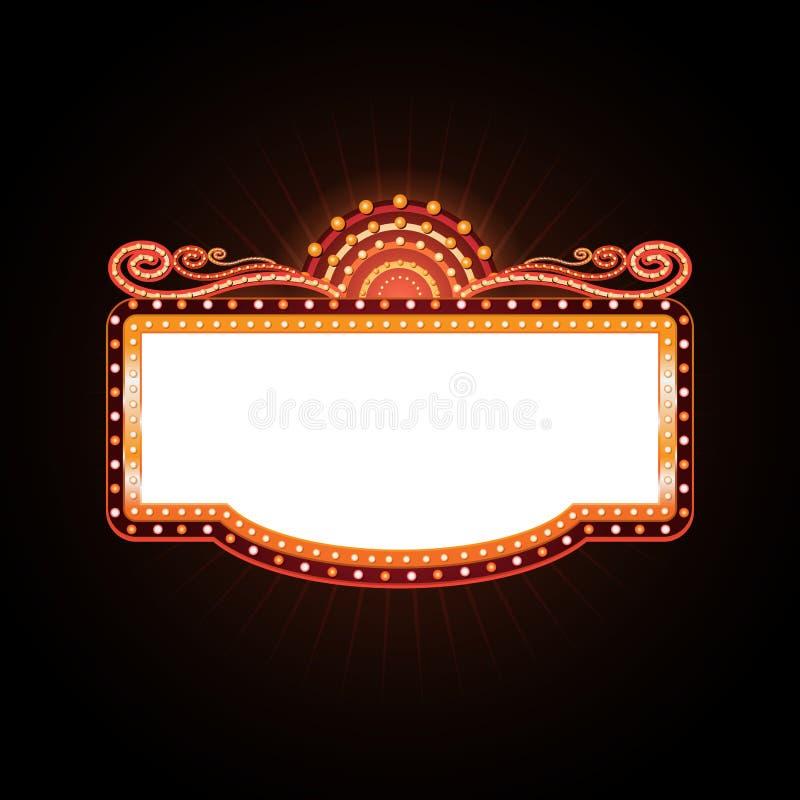 明亮剧院发光的减速火箭的戏院霓虹灯广告 皇族释放例证