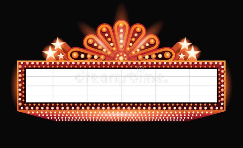 明亮剧院发光的橙色减速火箭的戏院霓虹灯广告 皇族释放例证