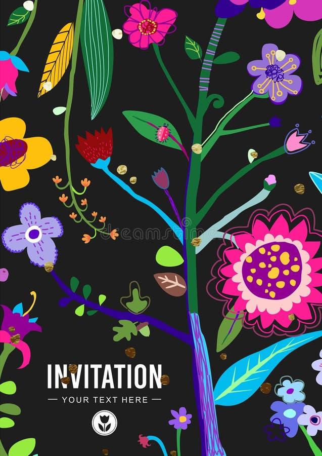 明亮和五颜六色的花卉背景 皇族释放例证
