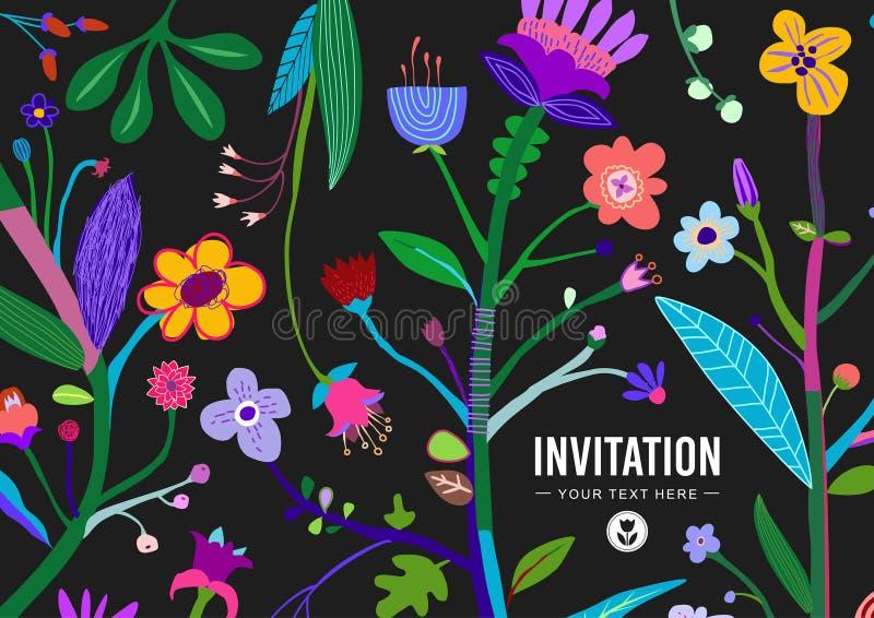 明亮和五颜六色的花卉背景 向量例证