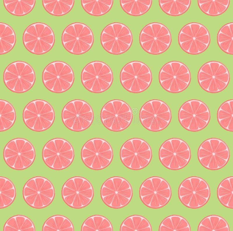 明亮和五颜六色的规则粉红色葡萄柚切无缝的样式有鲜绿色的背景 皇族释放例证