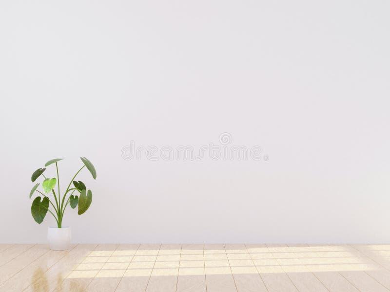 明亮和舒适现代卧室室内设计,轻的墙壁,灰色毯子,软的枕头,白色家具 3d回报 向量例证