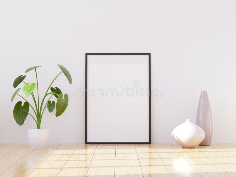 明亮和舒适现代卧室室内设计,轻的墙壁,灰色毯子,软的枕头,白色家具 3d回报 库存例证