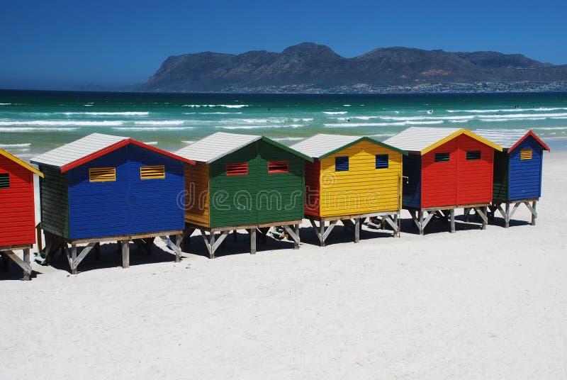海滩小屋在Muizenberg,南非 免版税库存照片