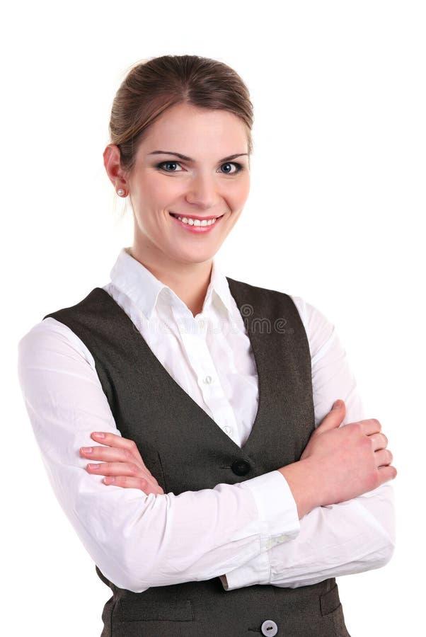 明亮地微笑新的女商人 库存图片