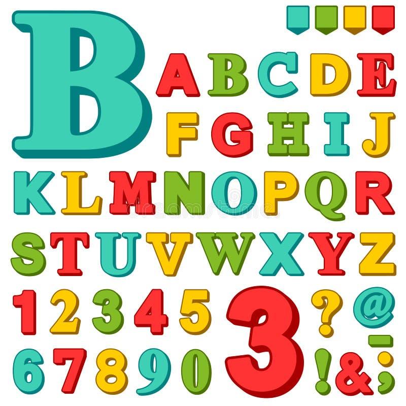 明亮地色的字母表信件和数字 向量例证