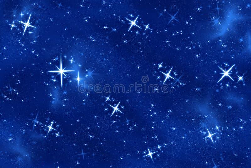 明亮夜空星形想 向量例证
