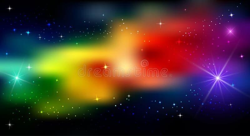 明亮抽象的背景 在黑暗的背景的一个呈虹彩补丁 彩虹,星,强光 向量例证