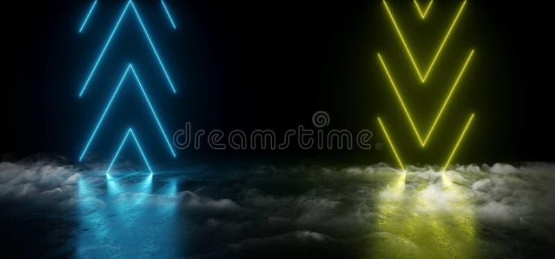 明亮烟真正霓虹激光箭头发光的黄色青绿的充满活力的展示夜黑暗的空的难看的东西具体形状的光 皇族释放例证