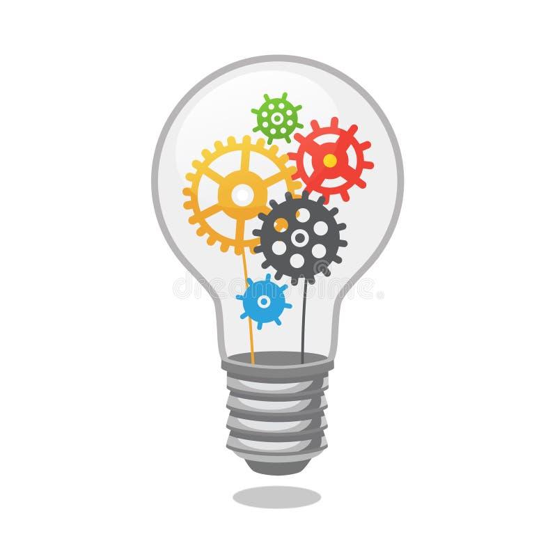 明亮的与嵌齿轮的想法电灯泡 向量例证