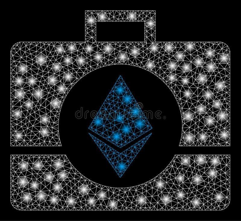 明亮的与火光斑点的滤网第2个Ethereum水晶案件 向量例证